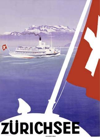 Vintage tourism advertisement to promote a boat-cruise on the Lake of Zurich.