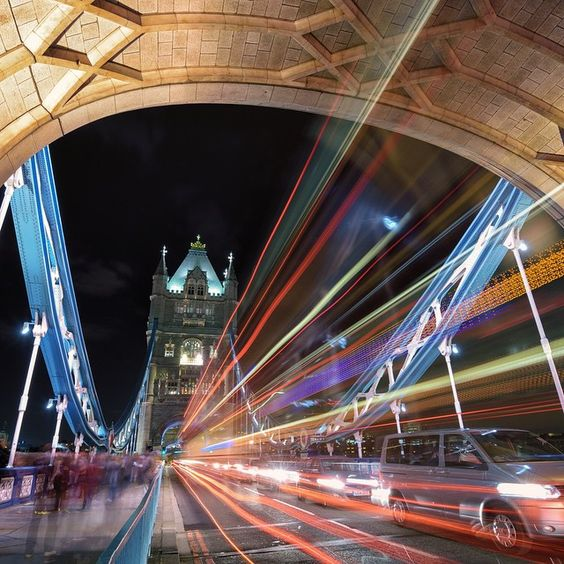 """""""Photo @ladzinski / Late night pedestrian and car traffic over the aesthetic #TowerBridge in @london. The bridge was built in 1894 and is among the cities…"""""""