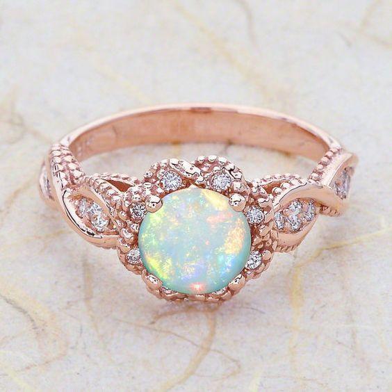 14K Vintage Rose златен годежен пръстен център е A от EJCOLLECTIONS
