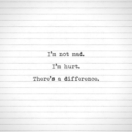 There is a difference between pain and anger. But when I am hurt people think I'm mad and mean...therefore no one will ever know when I'm hurt--k
