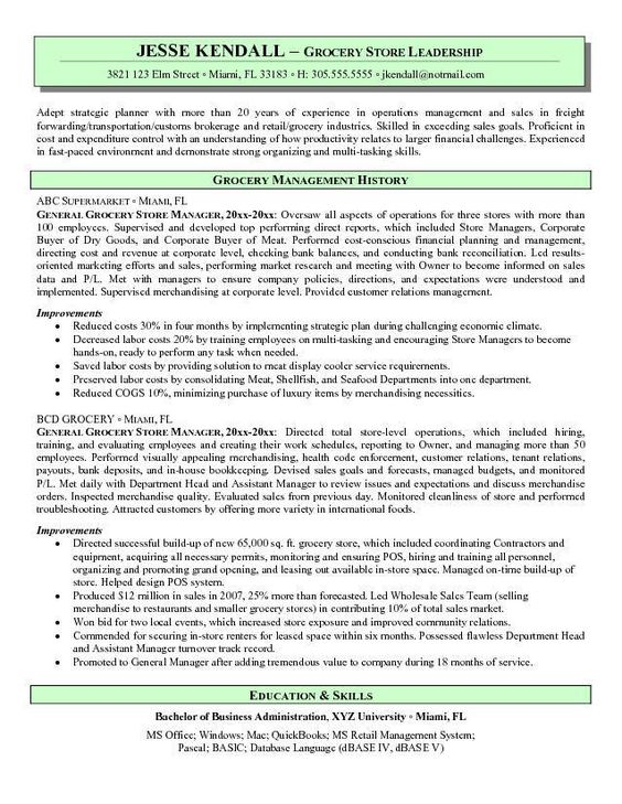 grocery store resume and free resume on