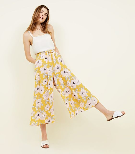 20 Yellow Floral Gathered Wide Leg Cropped Trousers | New Look