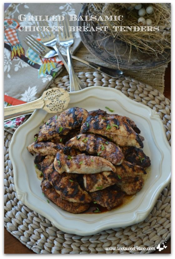 Grilled Balsamic Chicken Breast Tenders - easy main dish for dinner on a busy night!  Get the recipe at www.tootsweet4two.com.