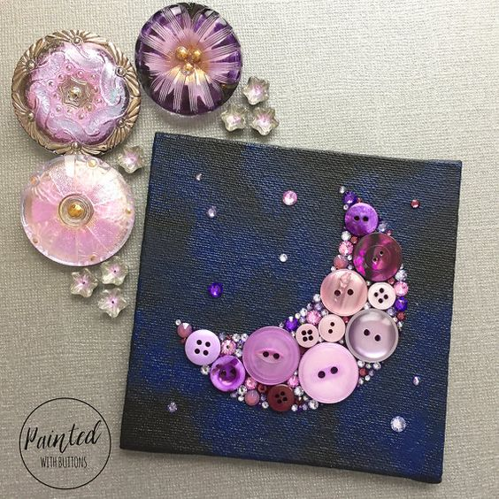 Moon And Stars Button Art Astronomy Decor Small Wall