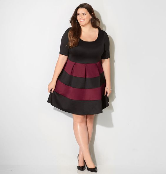 Merlot Colorblocked Stripe Fit and Flare DressMerlot Colorblocked Stripe Fit and…