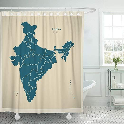 Tompop Shower Curtain City Modern Map India With Federal States In