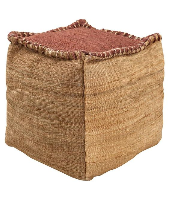 Jute Taupe Pouf