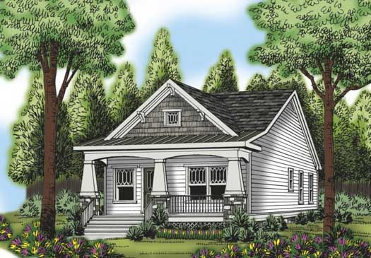 Craftsman style house plans 966 square foot home 1 for Small craftsman house plans with garage