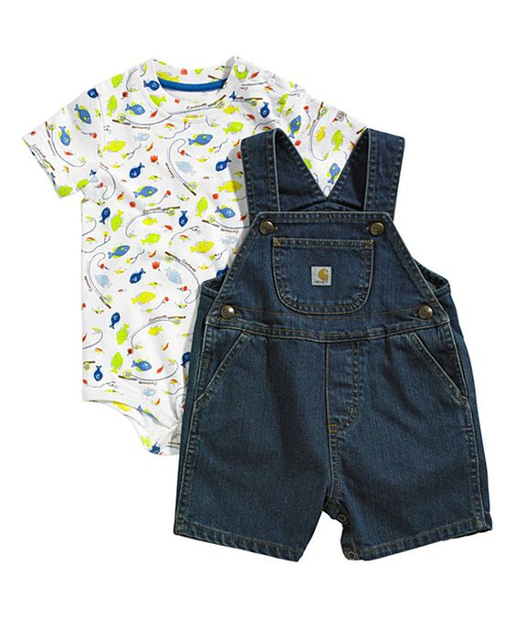 This Carhartt White Fish Bodysuit & Indigo Denim Shortalls - Infant by Carhartt is perfect! #zulilyfinds