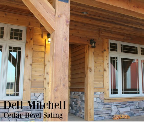 Our cedar bevel siding is a great exterior finish that adds just the right pop to this cabin as the slight overlay breaks up a monotonous wall. #bevel #cedar #siding #cabin #mountainhome #rustic #lumber #rusticlumber
