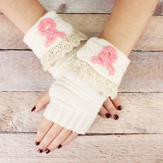 SALE! One Pair of Winter White and Pink Ribbon Knit Fingerless Gloves #IA0010-WP