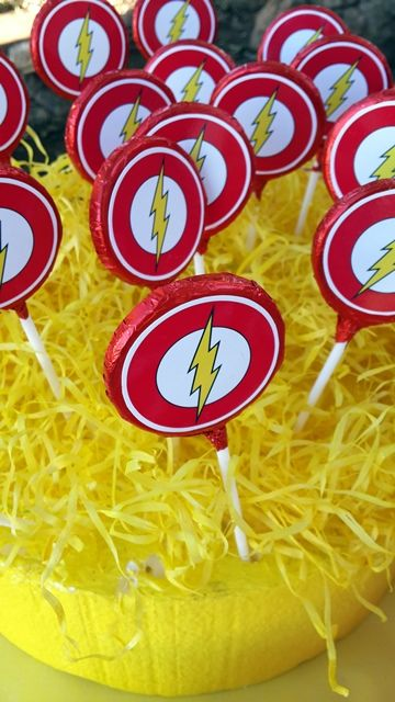 The Flash Logo Chocolate Lollipops: