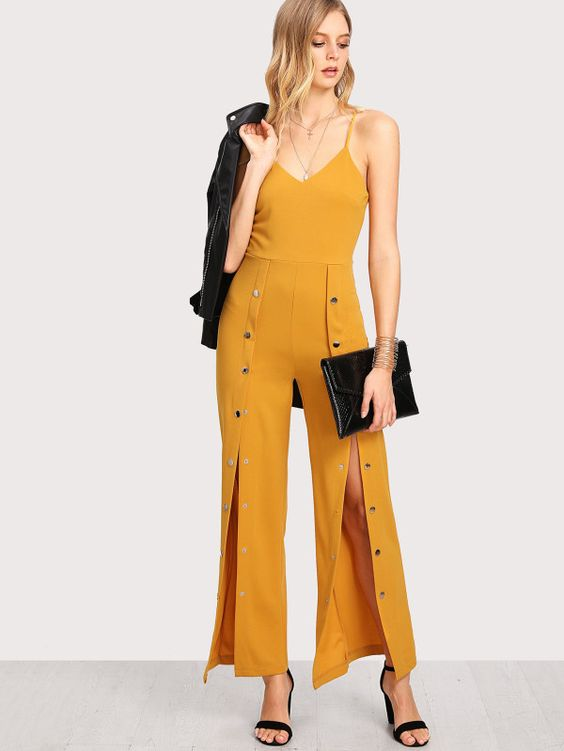 Snap Button Solid Cami Jumpsuit -SheIn(Sheinside)