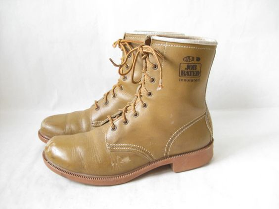 Vintage 80's Brown Leather Insulated Work Boots. Size 8 Men's// 10 Women's by TimeBombVintage on Etsy https://www.etsy.com/listing/462119086/vintage-80s-brown-leather-insulated-work