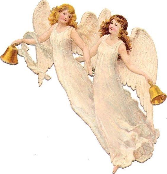 Oblaten Glanzbild scrap diecut chromo Engel angel cherub Glocke bell: