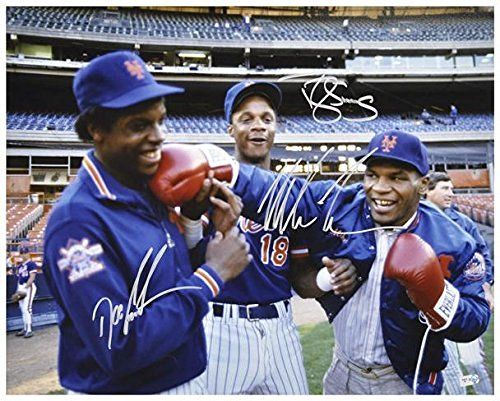 """Dwight Gooden, Darryl Strawberry Mike Tyson New York Mets Autographed 16"""" x 20"""" Photograph - Fanatics Authentic Certified"""