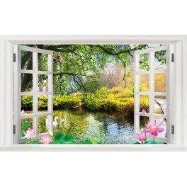 Tapisserie trompe l 39 oeil effet 3d paysage zen avec les lotus papier peint 3d paysage - Tapisserie trompe l oeil ...