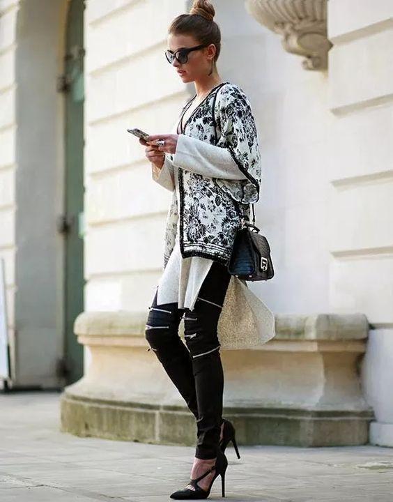 Street-Style-Black-White-Kimono-Sueter