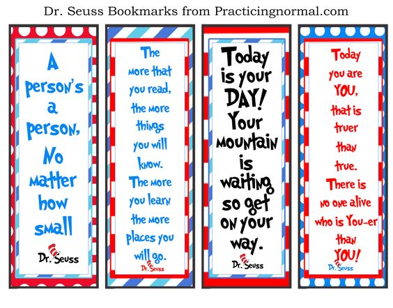Dr. Seuss Bookmarks with quotes, free printable from