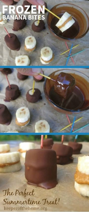 Frozen Banana Bites are a quick and easy recipe with only 3 ingredients and 4 steps. They're perfect for the peanut butter and chocolate lovers in your family and make for a delicious party treat that's fun to make with your kids!