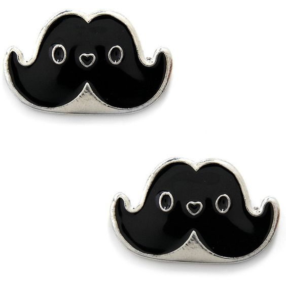 Facial Flair Earrings ($9.99) ❤ liked on Polyvore featuring jewelry, earrings, accessories, brincos, mustache, moustache earrings, mustache earrings, moustache jewelry, nickel free jewelry and mustache jewelry
