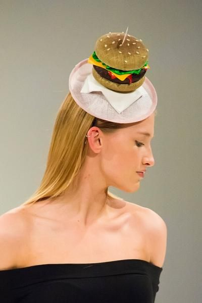 Burger Hat by The Libertarian Millinery. Model: Stephanie Grieve, Photography: Peter Alan Reed