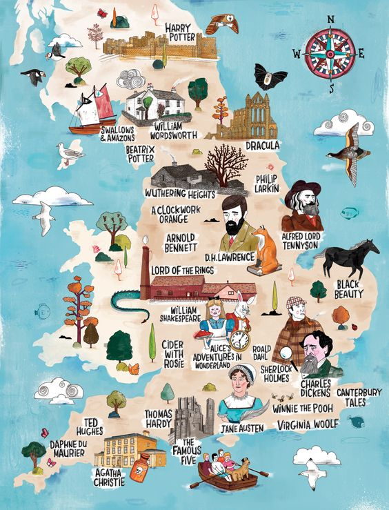 Literary map of England.