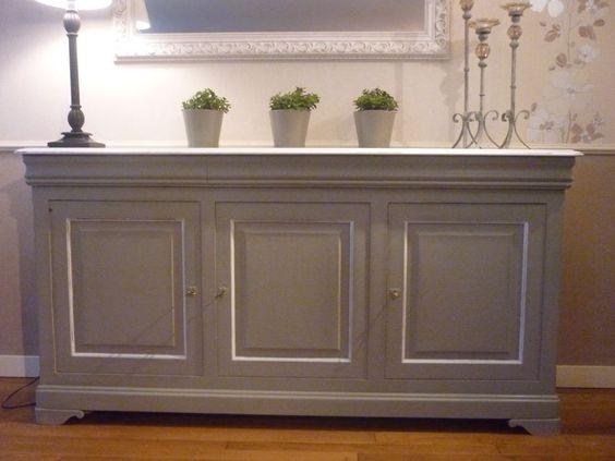 Id e pour repeindre le buffet meuble peint pinterest for Meuble tv xxl style louis philippe en pin