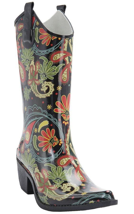 Corky's® Women's Paisley Multi Color Rodeo Snip Toe Rain Boots ...