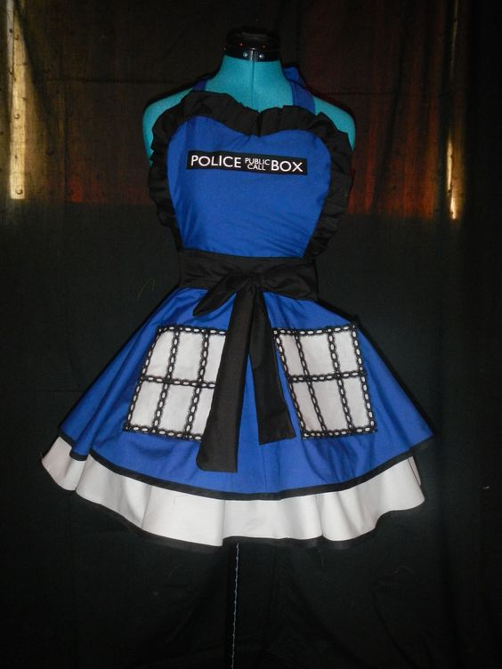 Why are they so expensive?! I love them so much! Doctor Who Tardis Inspired Apron Pinafore. $85.00, via Etsy.