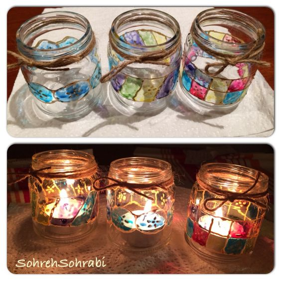 Painting on glass/ jar painting
