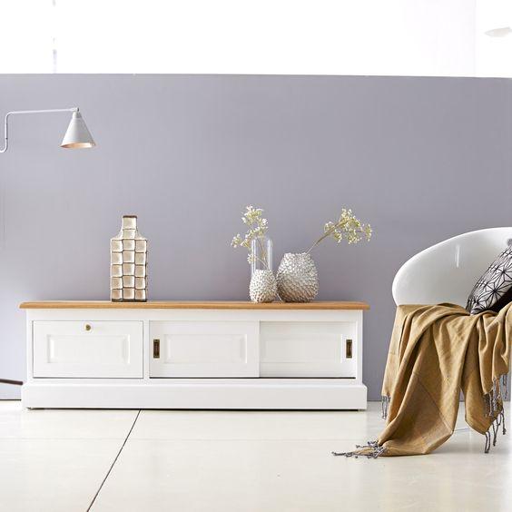 Meuble TV blanc et Chêne 150 Cottage Slide Meuble Télé Pinterest - Renovation Meuble En Chene