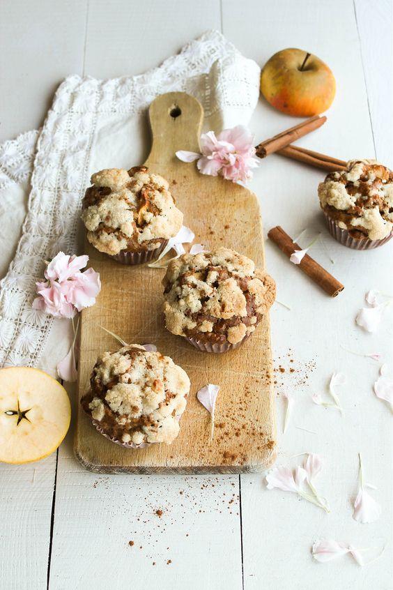 Muffins aux pommes et streusel {sans lait}