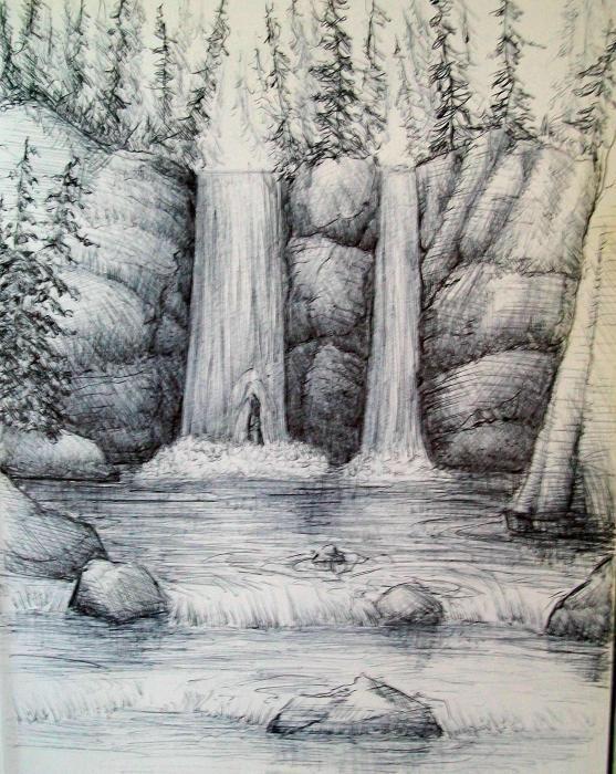 Sketsa Pemandangan Air Terjun Pensil