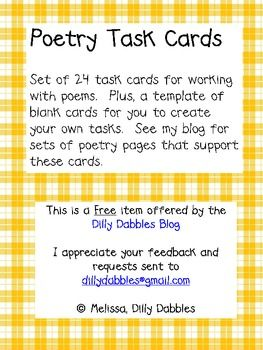 Task cards poetry and blank cards on pinterest for Blank task card template