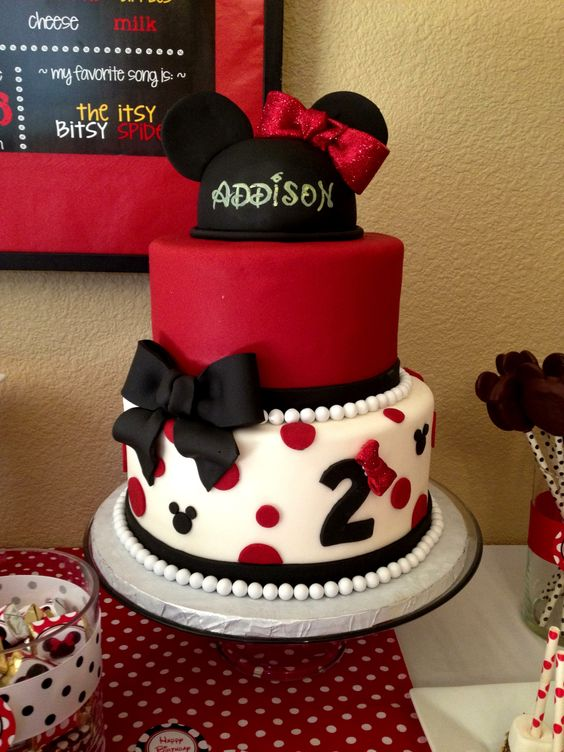 - Minnie Mouse cake I made for my daughter's second birthday.  Used MFF, topper made from Rice Krispies with handpainted name and disco dust covered bow. Number two was handout and red bow also covered in disco dust. Cake was poppyseed with orange chocolate mouse and apricot preserves and iced in Italian buttercream under fondant. (Cake and buttercream came from bakery where I work)