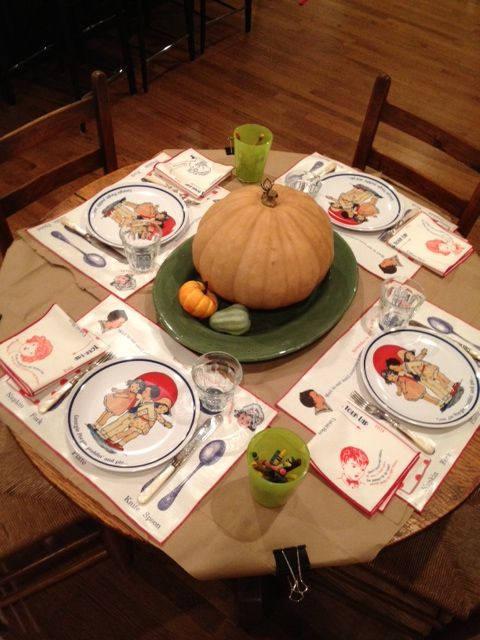 Best. Kids. Table. Ever. #Thanksgiving. Georgie Porgie #dinnerware set on brown paper bags and #crayons for mid-meal doodling.