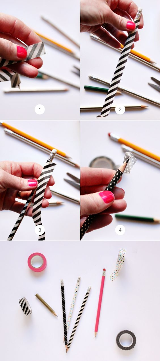 A l'aide de masking tape, recouvrez vos crayons et stylos de motifs originaux ! Découpez les extrémités pour un fini propre.