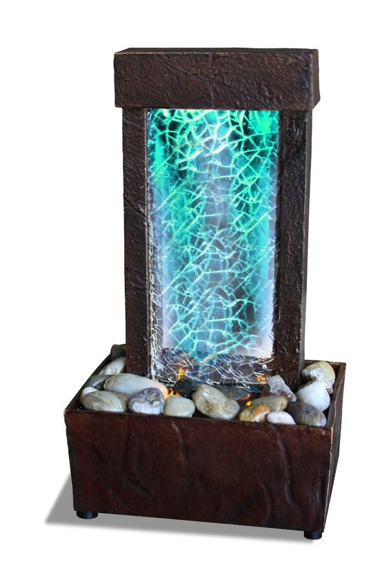 Cracked glass light show led indoor fountain tabletop for Glass waterfall design