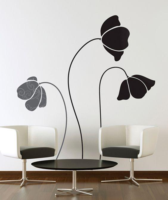 Tres flores vinilo adhesivo decoraci n de paredes 69 for Adhesivos neveras decoracion