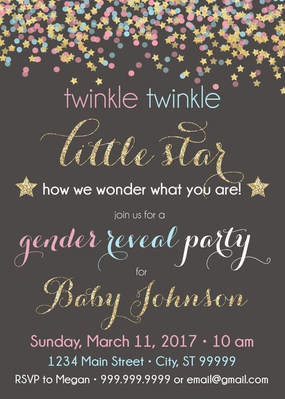 Twinkle Twinkle Little Star Baby Shower Ideas For Any Budget Gender Reveal Invitations Gender Reveal Party Invitations Gender Reveal