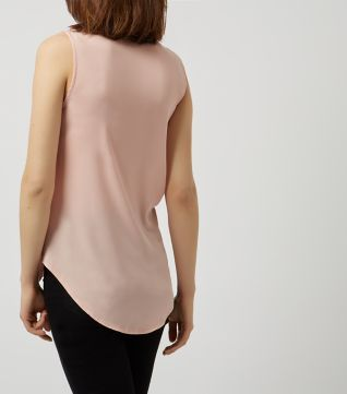 Shell Pink Wrap Front Sleeveless Top