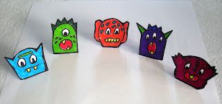 Notes from the Story Room: Five Little Monsters - Finger Puppets