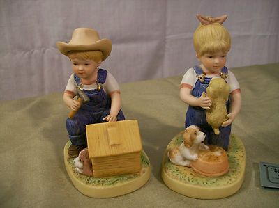 Homco Home Interiors Denim Days Figurines Puppy Love