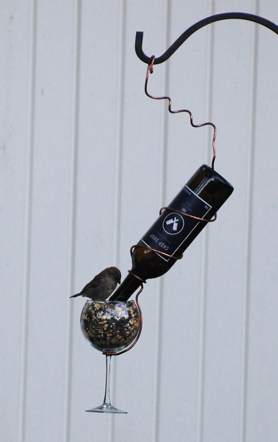 Wine bottle bird feeder bird feeder wine by for Wine bottle glasses diy