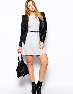 ASOS CURVE Slash Neck Dress With Belt + leather jacket and ankle boots