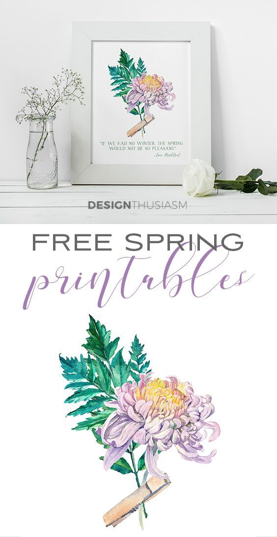Free Printable Art For Spring Watercolor Flowers For Diy Wall