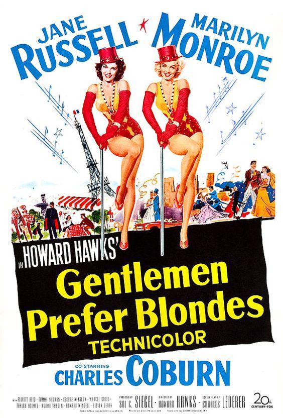 Marilyn Monroe - Gentlemen Prefer Blondes - Musical Comedy Movie Poster Print  13x19 - Vintage Movie Poster - Jane Russell