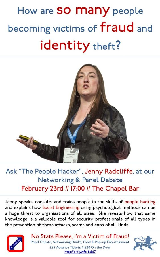 "How are so many people becoming victims of fraud & identity theft? Ask ""The People Hacker"", Jenny Radcliffe, at our Networking & Panel Debate http://bit.ly/tft-feb17"