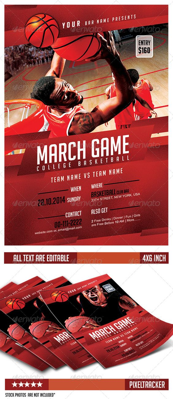 March Game College Basketball Flyer | Basket Graphic Design